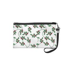 Christmas Holly pattern Holiday Wristlet