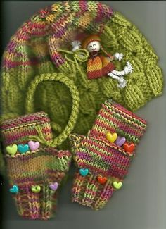 Girls Knitted Hat Fingerless Gloves Multicolor with Doll Attached | eBay