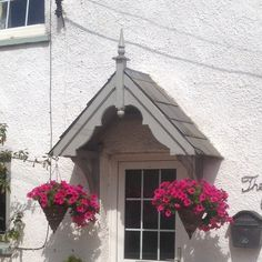Handcrafted timber door canopies, barge boards and gallows brackets. Porch Uk, Front Door Porch, Wooden Front Doors, Timber Door, House With Porch, Cottage Front Doors, Cottage Porch, Cottage Exterior, Door Canopy Porch