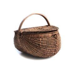 Antique Splint Oak Buttocks Gizzard Gathering Basket Hand Woven with LID 38 Ribs on Etsy, $159.00