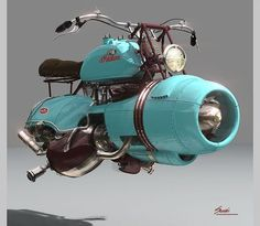 """steam-on-steampunk: """" DALI'S HOVER BIKE Indian """"jet engine"""" hover bike commissioned by:Salvador Dali for his birthday complete with mustache bars. """"Flyer Concept""""  By : John Barous 2015 -  Docent, The Salvador Dali. Hover Bike, Hover Car, Steampunk Watch, Steampunk Accessories, Jet Engine, Plane Engine, Dieselpunk, Custom Bikes, Scooter Custom"""