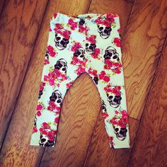 Baby or Toddler Knit Stretch Leggings -Pick your size-Skulls with Roses on Etsy, $16.00- I will need to buy these if it's a little girly