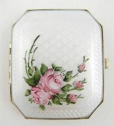 Vintage White Guilloche Enamel Hand Painted Pink Roses Duo Compact Rouge Powder