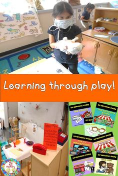 Authentic reading and writing are an part of this dramatic play set. Children have a meaningful purpose to use print. The dramatic play center is also an area in the room where conversation is a must!