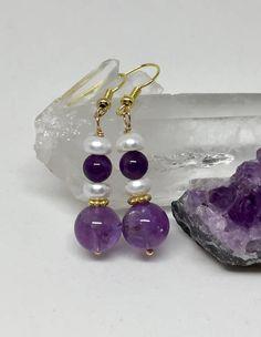 Amethyst and pearl earrings pearl and amethyst earrings deep