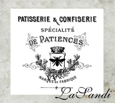 "Aufkleber transparent Vintage ""Patisserie"""