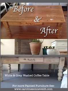 For Sale!  Before and After: Stripped the whole thing and washed it gently.. :-) Bit white bit grey-ish  Chalk paint coffee table white wash grey wash repainted furniture