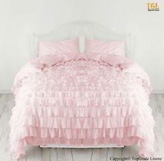 $99 Sale Egyptian Cotton Bedding Queen Waterfall Ruffle Duvet Cover Pink   eBay