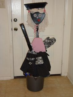 We got you a Maid! - Easy, super cute, fun gift idea for a Bridal Shower! Made entirely from useful housekeeping supplies.