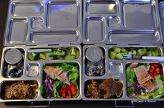 2013 bento 48-49  Grilled chicken salad Dressing Gluten Free Granola bars I made (Carrot Zucchini Muffin for Piglet) Kiwi Dressing Sunsweet prunes  #planetbox #lunch #bento #kids