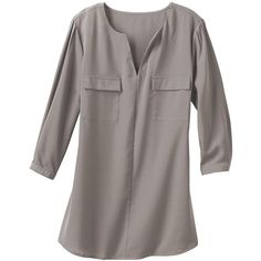 Samantha Brown Musee Crepe de Chine Shirt (70 CAD) ❤ liked on Polyvore featuring tops, blouses, grey, plus size shirts, grey shirt, button shirt, plus size 3/4 sleeve tops and 3/4 sleeve tops