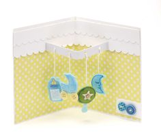 Adorable New Baby Pop Up Card Project Featuring a baby mobile. Get this Free card idea for a new baby and give the new mum and dad a keepsake card.