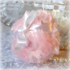La Petite Rose Powder Puff  soft pink and white  by BonnyBubbles, $12.50