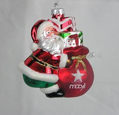Holiday Lane Macys Santa w Gift Bag Glass - Christmas Tree Ornament Glitter