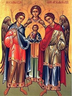 Saints Michael, Gabriel, and Raphael.