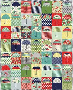 """Rain Check Quilt Kit using Moda April Showers by Bonnie and Camille. 56"""" x 70"""" ....cheerful!"""