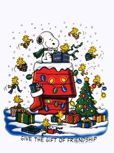 Merry Christmas with Snoopy & Woodstock. Peanuts Christmas, Charlie Brown Christmas, Winter Christmas, Vintage Christmas, Christmas Time, Merry Christmas, Christmas Classics, Christmas Cartoons, Christmas Is Coming