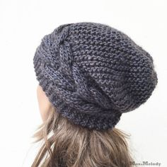 Hand knit hat Oversized Chunky Wool Hat slouchy hat por MaxMelody