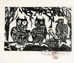 Munakata Shiko: Night Birds (the fence of.) (Yacho Domo no saku) - Scholten Japanese Art Japanese Art Prints, Japanese Art Modern, Traditional Japanese Art, Etching Prints, Japan Art, Linocut Prints, Chinese Art, Chinese Painting, Print Artist