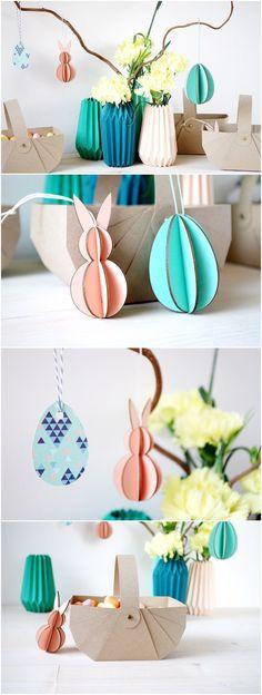 {Déco} Célébrons Pâques en pastel - DIY du Panier et des vases en Origami