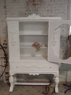shabby chic china cabinets | Painted Cottage Chic Shabby White Romantic French China Cabinet