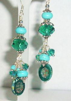 Howlite Earrings Turquoise Blue Dangle by hhjewelrydesigns on Etsy, $20.00
