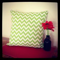 Green chevron cushion by Avie Designs  https://www.facebook.com/pages/Avie-Designs/230829420318168