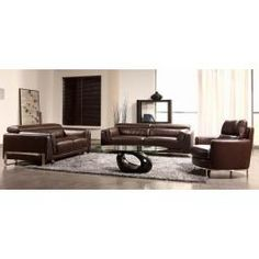 BO3946 - Espresso Leather Sofa Set
