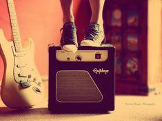 cute, guitar, retro, sneakers, vintage