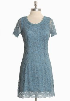 """Divine Stature Lace Dress In Blue  52.99 at shopruche.com. Simple and elegant, this light blue dress is crafted with a floral lace overlay, sheer sleeves, and an unfinished hem for soft texture. Back zipper closure. Fully lined.41% Nylon, 59% Viscose, Made in USA, 33"""" from top of shoulder"""
