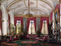 Interiors of the Winter Palace. The Raspberry Study of Empress Maria Alexandrovna - Edward Petrovich Hau - Drawings, Prints and Painting from Hermitage Museum
