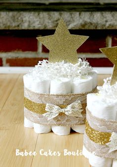 SET OF 4 Mini Twinkle Twinkle Little Star by BabeeCakesBoutique Baby Shower Centerpieces, Baby Shower Decorations, Table Decorations, Sprinkle Shower, Double Shower, Baby Shower Fall, Twinkle Twinkle Little Star, Diaper Cakes, Baby Games