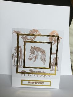 Got to try out my new inkadinkado clear stamps. Made this card for a horsey friend. I used white and gold card stock for the card and stamped the horses using a metallic copper ink. I used my Misti to do the triple stamping technique, it was so easy using the magnets to hold it in place, I love my Misti 😍