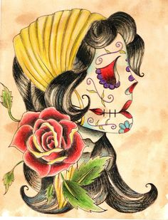 I may actually get this tattoo eventually. So beautiful. A dia de los muertos gypsy. ♡♥♡
