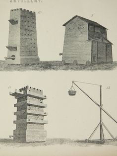 Artillery Antique 1875 Engraving Medieval Military Weapons Seige Tower Fortress