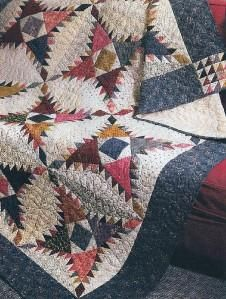 Quilt-Pattern-Pine-Burr-Challenging-Country-Feel-Charming-Pine-Burr-Blocks - Reminds me of a Native American pattern. Primitive Quilts, Antique Quilts, Vintage Quilts, Star Quilts, Scrappy Quilts, Quilt Blocks, Fall Quilts, Free Motion Quilting, Hand Quilting