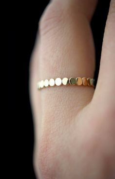 Gold stacking ring perfect for mixing and matching | Thick bead stacking ring | Jewelry | Rings | 14k Gold Handmade Jewelry | Minimalism | hannahnaomi on Etsy #jewelry #gold #ad #ring