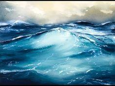 Rough Ocean Water in Watercolors Painting Tutorial - YouTube