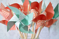 Coral and Mint Green Pinwheels Set of 24 by Msapple on Etsy, $48.00