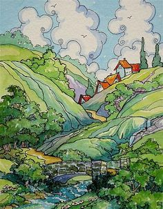 """Daily+Paintworks+-+""""Headwater+Village""""+-+Original+Fine+Art+for+Sale+-+©+Alida+Akers"""