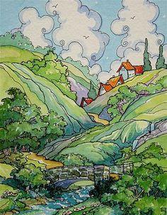 """Headwater Village"" - Original Fine Art for Sale - © Alida Akers"
