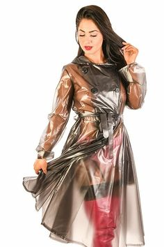 This classic Ladies Double breasted pattern has a shaped and close fitting top joined at the waist to a flowing skirt. Consequently you have a very voluminous f Vinyl Raincoat, Pvc Raincoat, Plastic Raincoat, Plastic Pants, Pvc U Like, Plastic Mac, Black Raincoat, Vinyl Clothing, Latex Girls