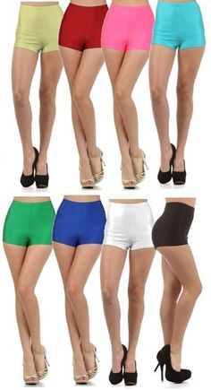 High Waist Pin Up Girl Dance Cheer Burlesque High Cut Spandex Stretch Mini Short   eBay