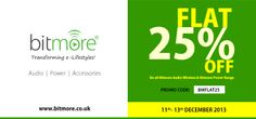 Shop wireless bluetooth speakers and powerbank range on this xmas from Bitmore and get 25% discount. Offer valid till 13th December'13. Hurry now!!! For more details visit our website.