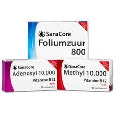 Sanacore Vitamine B12 Kuur voor 2 maanden Methyl 10.000, Adenosyl 10.000 Foliumzuur 800 Vitamin B12, Vitamin D3 Deficiency, Vit B12, Homeopathic Remedies, Folic Acid, Healthy Habits, Medical, Mindfulness, Personal Care
