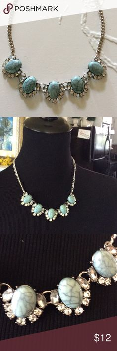 Blue Statement Necklace New no tag Blue and Rhinestone statement necklace NWT.  Silver tone Chain. Rue 21 Jewelry Necklaces