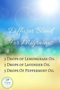 Migraine Essential Oil Blend With Lemongrass -  learn more about the benefits of lemongrass here: http://www.enjoynaturalhealth.com/lemongrass-essential-oil-benefits/