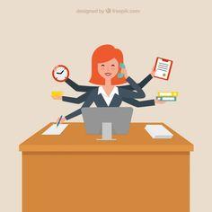 Productive Businesswoman Free Vector