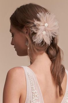 Feathered Flowers Blushing Plumes Clip From Bhldn Bridal Hairstyles With Braids Bride Hairstyles