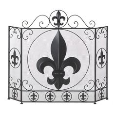FLEUR-DE-LIS FIREPLACE SCREEN Iron French Flower Home Decor NEW
